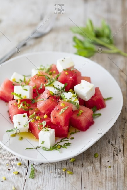 Watermelon salad with sheep cheese