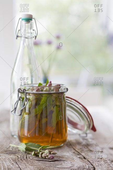 Homemade sage flower liqueur
