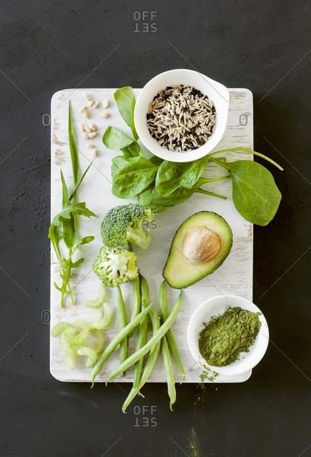 Green superfood (vegetables, matcha tea and wild rice)