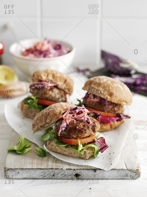 Pork burgers with sage and a red cabbage salad
