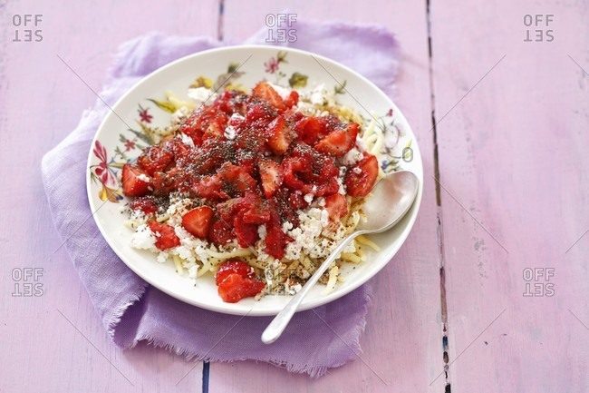 Sweet pasta with strawberries, quark and chia seeds
