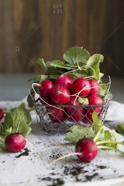 Radishes in a wire basket