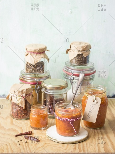 Harissa and spices in glasses