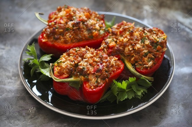 Red peppers filled with rice and meat