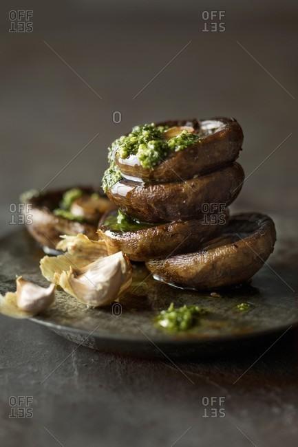 Pan-fried shiitake mushrooms with garlic and pesto (Italy)