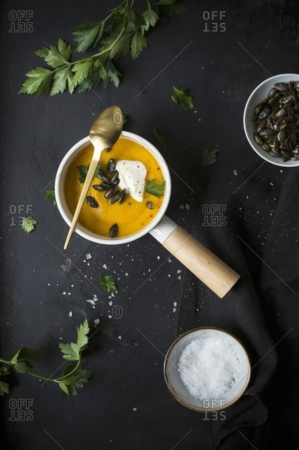 Pumpkin soup with cr�me fraiche and pumpkin seeds