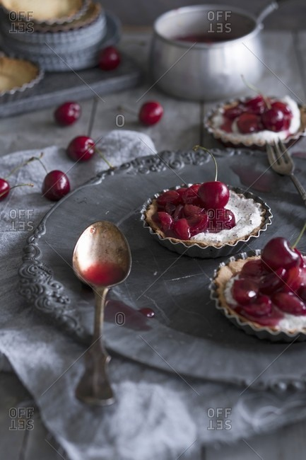 Maraschino cherry tartlets on a plate