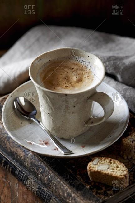 Caffe latte in a ceramic cup