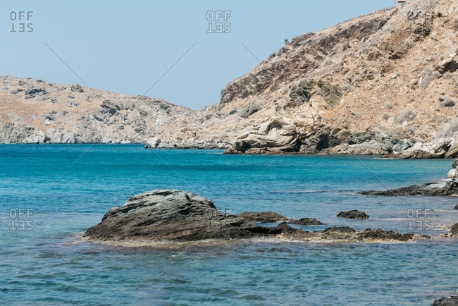 Scenic view of rocky coastline of the island of Andros