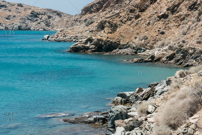 Scenic view of rugged coastline of Andros