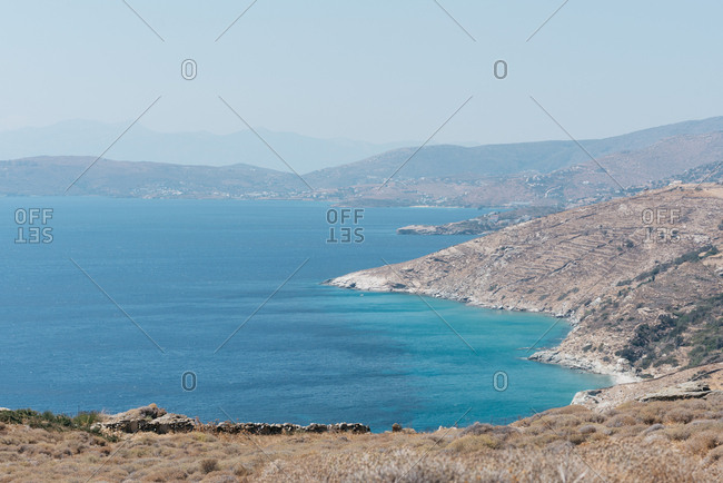 Scenic view of the coastline of the island of Andros