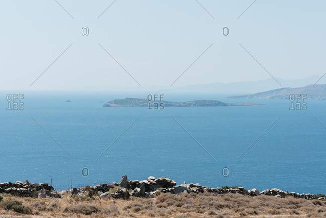 Scenic view of islands off the coast of Andros