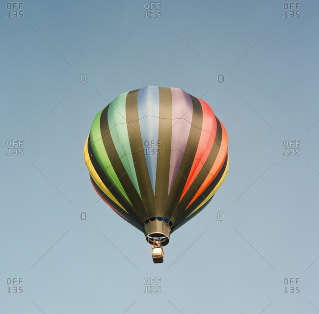 Colorful hot air balloon against clear sky