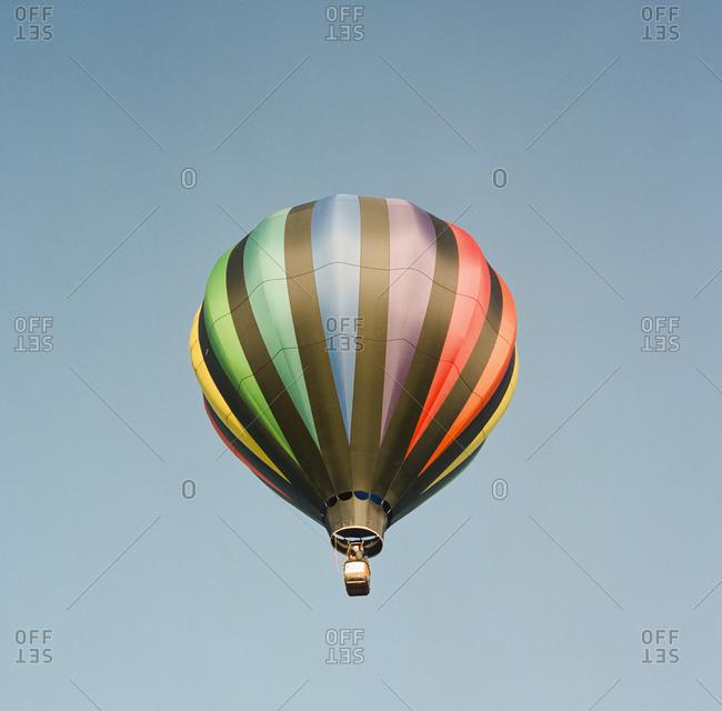 Colorful hot air balloon against clear sky