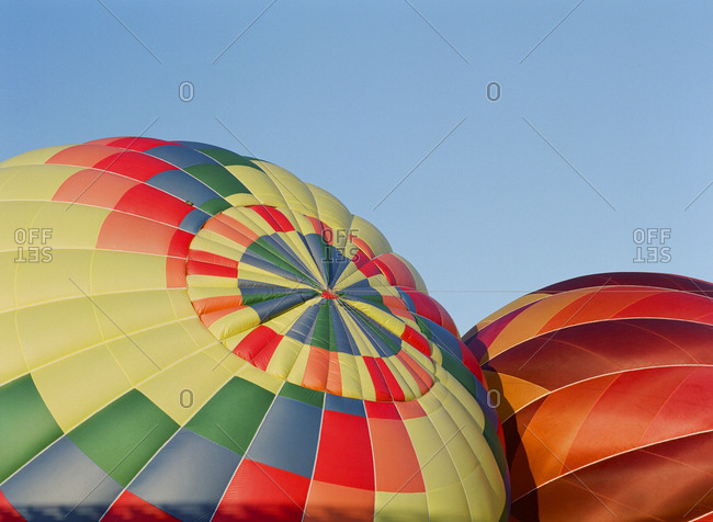 Close-up of colorful hot air balloons