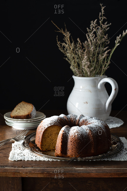 Bundt Cake on a Rustic Farmhouse Table