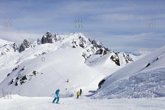 April 2, 2018: Brevant ski area, Chamonix, Haute Savoie, Rhone Alpes, French Alps, France, Europe