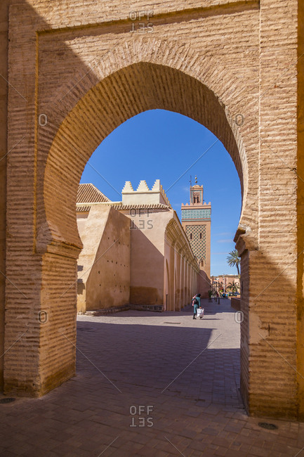 March 11, 2018: View of Moulay El Yazid Mosque framed by archway, Marrakesh, Morocco, North Africa, Africa