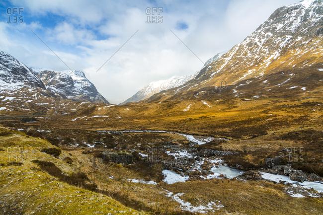 Winter storm and the Glencoe Valley, Glencoe, Highland Region, Scotland, United Kingdom, Europe