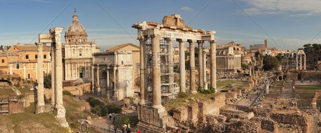 November 4, 2017: Roman Forum (Foro Romano), Temple of Saturn and Arch of Septimius Severus, UNESCO World Heritage Site, Rome, Lazio, Italy, Europe