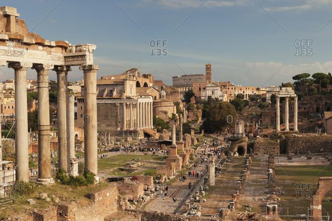 November 4, 2017: Roman Forum (Foro Romano), Colosseum behind, UNESCO World Heritage Site, Rome, Lazio, Italy, Europe