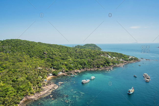 Aerial view of an island in the Phu Quoc archipelago in southern Vietnam, Indochina, Southeast Asia, Asia
