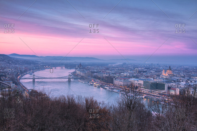 December 2, 2017: Overview of the city at sunset from The Citadel on Gellert Hill, Budapest, Hungary, Europe
