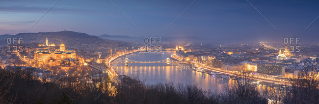 December 2, 2017: Panoramic of the city at dusk from The Citadel on Gellert Hill, Budapest, Hungary, Europe