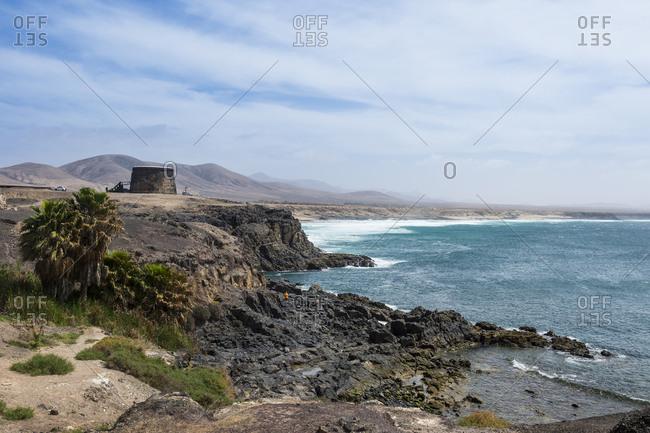 Tower of Toston, El Cotillo beach, El Cotillo, Fuerteventura, Canary Islands, Spain, Atlantic, Europe