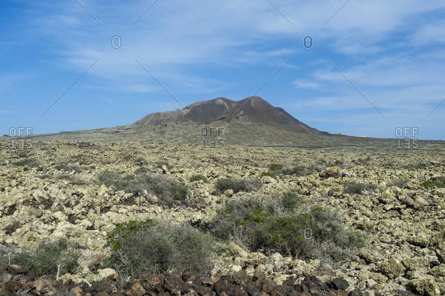 Green volcanic cone, La Oliva, Fuerteventura, Canary Islands, Spain, Atlantic, Europe