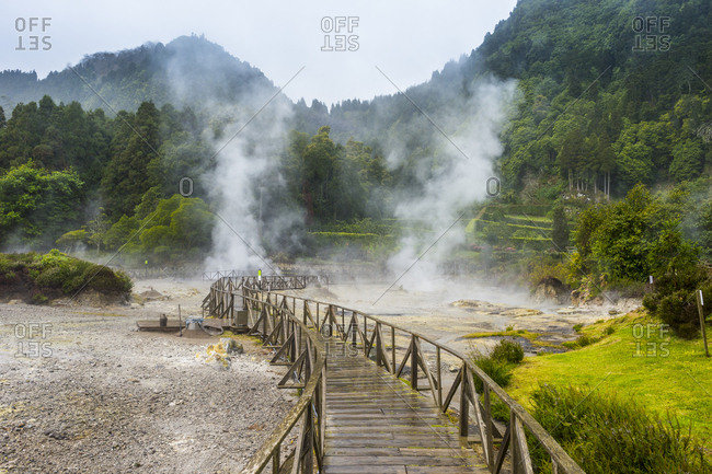 Fumaroles of Furnas Lake, Island of Sao Miguel, Azores, Portugal, Atlantic, Europe