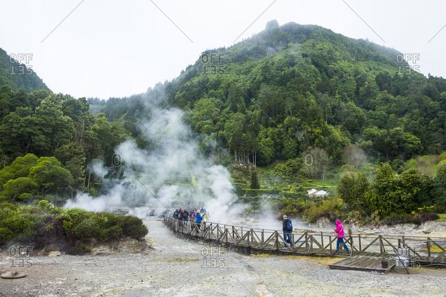 April 1, 2018: Fumaroles of Furnas Lake, Island of Sao Miguel, Azores, Portugal, Atlantic, Europe
