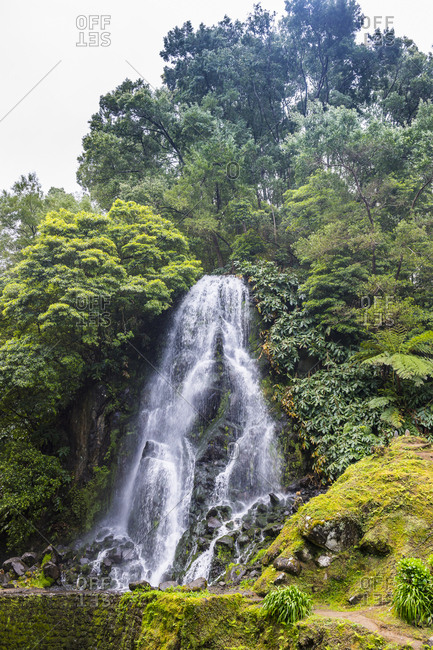 Achada waterfall in Achada, Island of Sao Miguel, Azores, Portugal, Atlantic, Europe