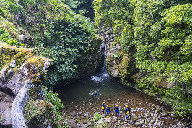 April 6, 2018: Beautiful valley in Achada, Island of Sao Miguel, Azores, Portugal, Atlantic, Europe