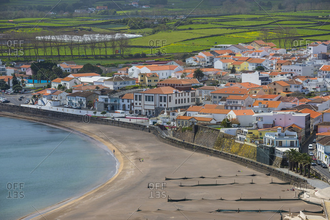 April 2, 2018: View over Praia da Vittoria from the Gazebo Torch Monument, Island of Terceira, Azores, Portugal, Atlantic, Europe