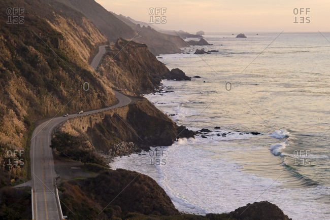 The Pacific Coast State Route Highway One in Pfeiffer Big Sur State Park between Los Angeles and San Francisco in California, United States of America, North America