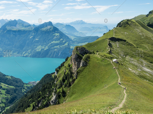 View of mountains and Lake Lucerne from Stoos Ridge Trail, Swiss Alps, Switzerland, Europe