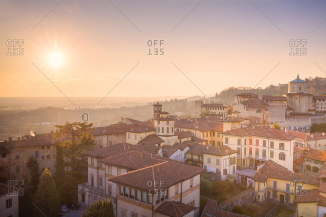 Historic center of Upper Town with Bishop's Seminary Giovanni XXIII from above, Bergamo, Lombardy, Italy, Europe