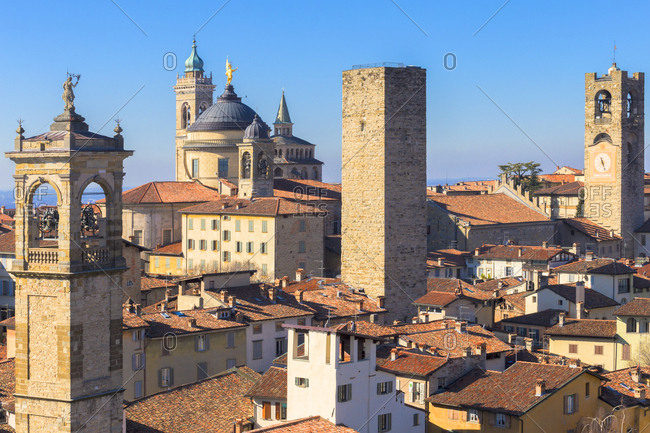 Tower of San Pangrazio, Torre del Gombito, Sant'Alessandro Cathedral (Duomo) and Civic Tower, Bergamo, Lombardy, Italy, Europe