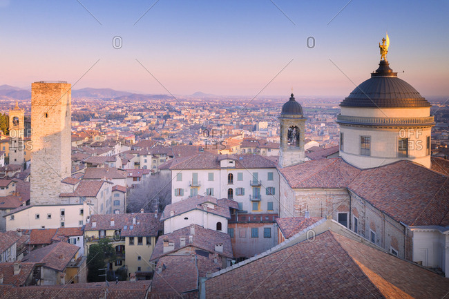 Cathedral of Bergamo with Torre del Gombito from above during sunset, Upper Town, Bergamo, Lombardy, Italy, Europe