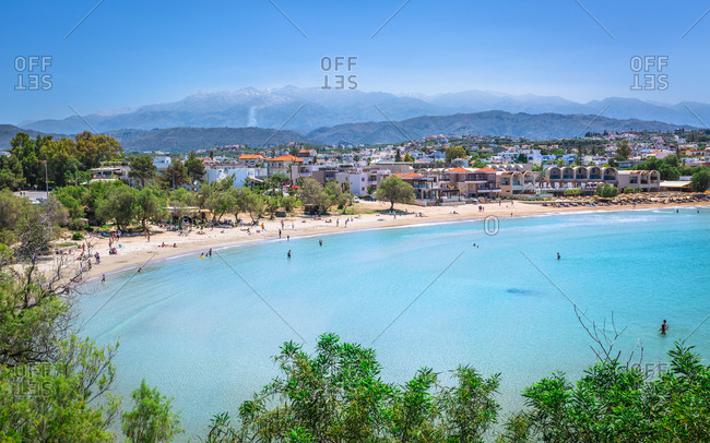 April 22, 2018: View of Agioi Apostoloi Beach, Crete, Greek Islands, Greece, Europe