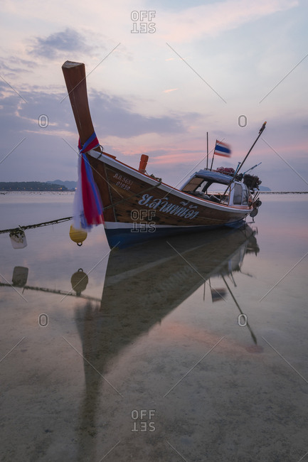 April 5, 2018: Long-tail boat on Rawai Beach, Phuket, Thailand, Southeast Asia, Asia
