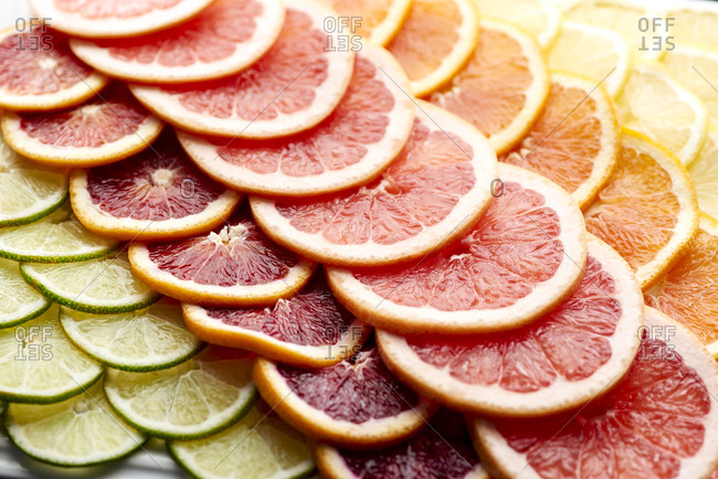 Slices of oranges and other citrus fruits
