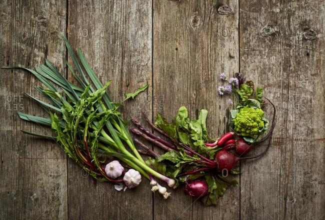 Variety of fresh spring vegetables
