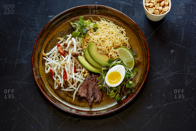 Ingredients to make Vietnamese pho on plate