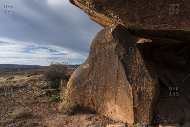 Comb Wash, Utah, USA - March 19, 2017: Comb Wash Petroglyphs, Bears Ears National Monument, Utah