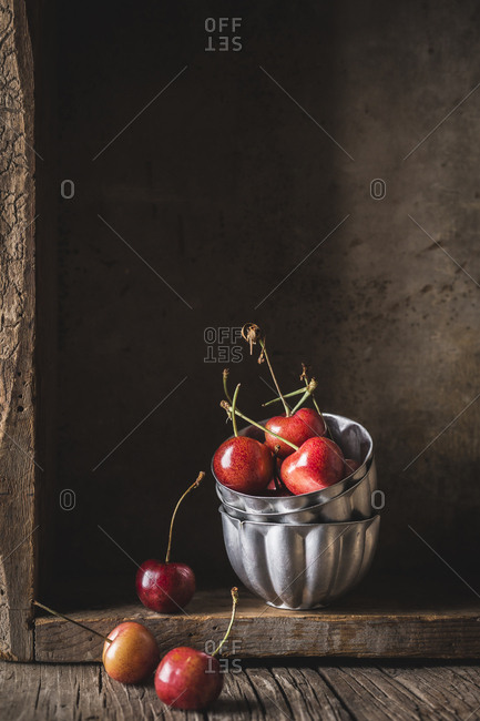 Rustic cherries still life