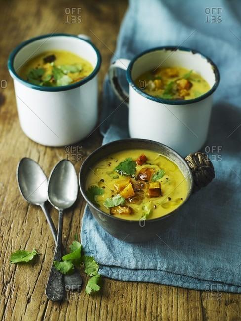 Squash, pear and coriander soup