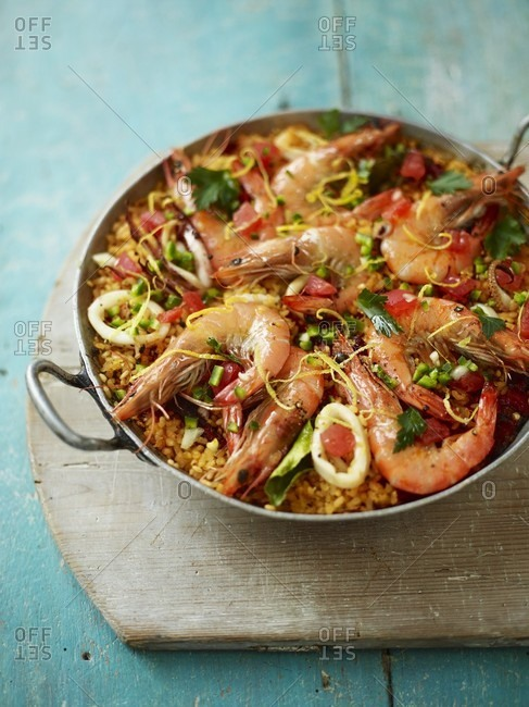 Toasted Paella with Red Prawns and Black Pepper Squid