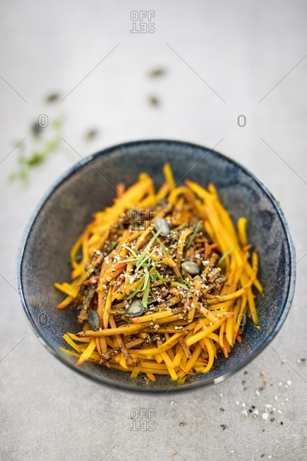 Pumpkin noodles with pumpkin seed pesto